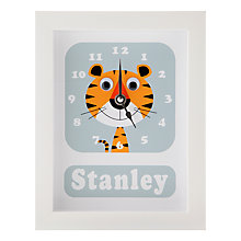 Buy Stripey Cats Personalised Terrance Tiger Framed Clock, 23 x 18cm Online at johnlewis.com