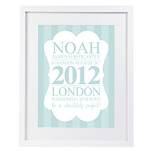 Buy Modo Creative Personalised Birth Details Framed Print, 51 x 40.5cm Online at johnlewis.com