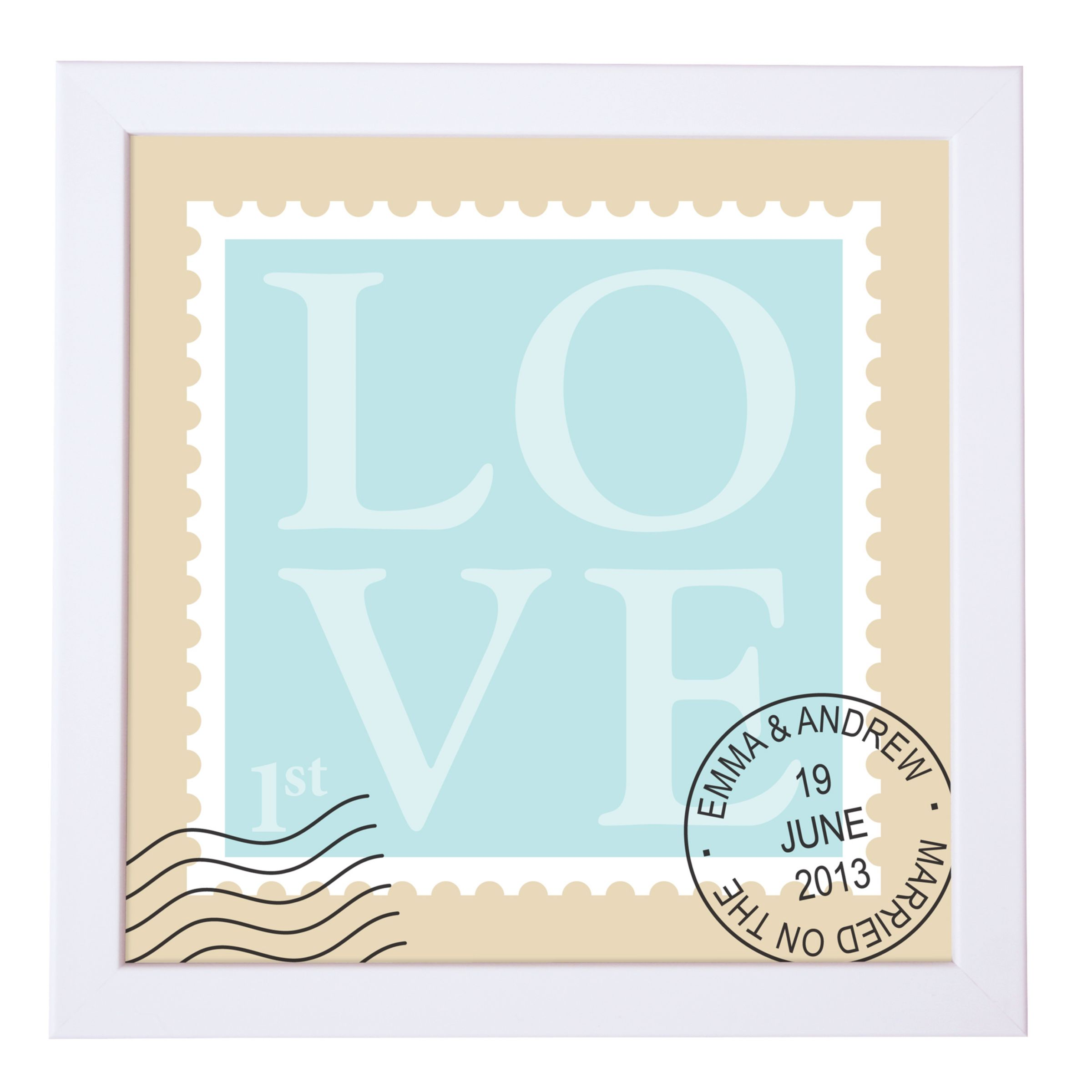 Personalised Wedding Gifts John Lewis : ... Creative Personalised Love Stamp Framed Print, 18 18cm John Lewis