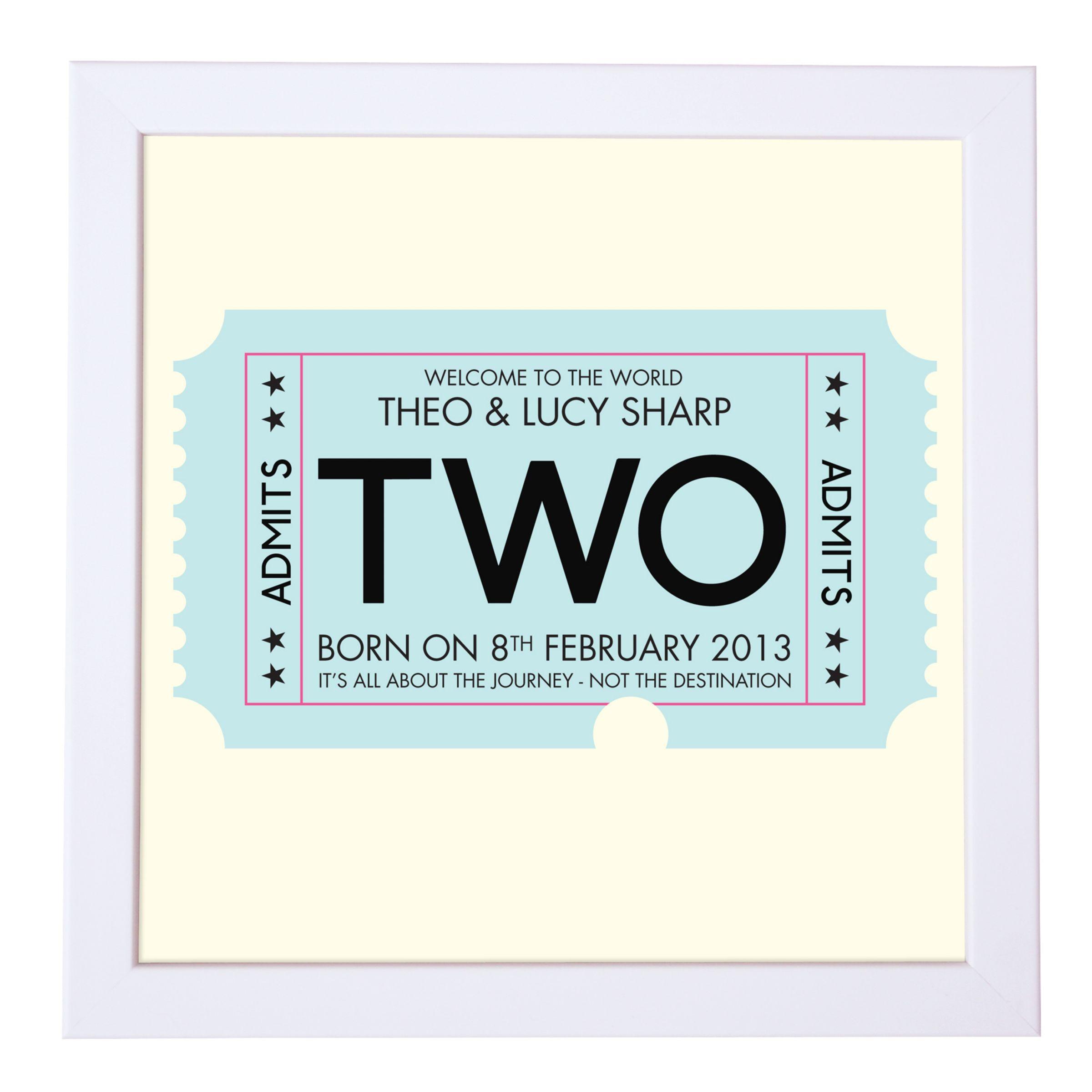 Modo Creative Modo Creative Personalised Admission Ticket Framed Print, 18 x 18cm