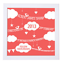 Buy Modo Creative Personalised Clouds & Bunting Framed Print, 18 x 18cm Online at johnlewis.com