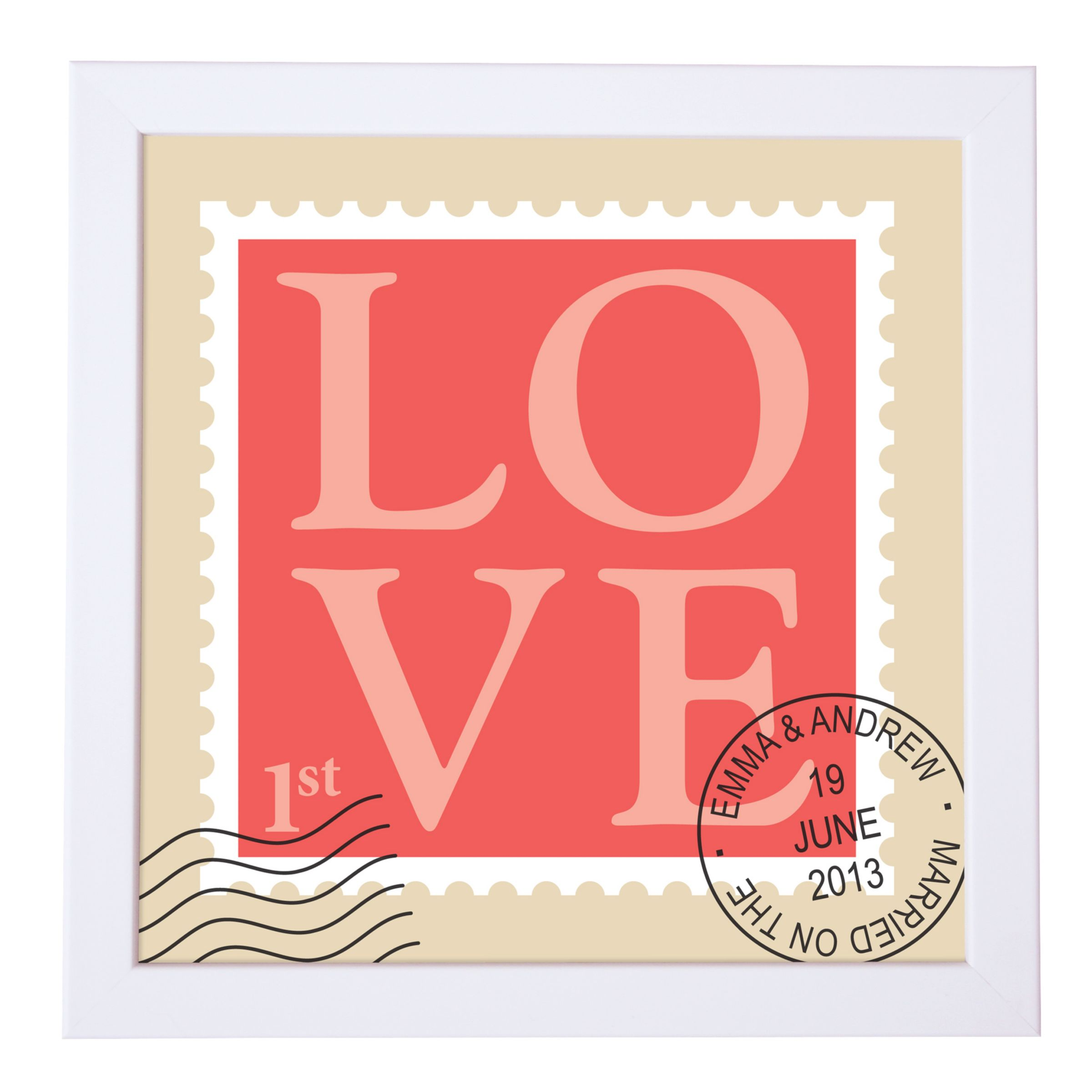 Modo Creative Modo Creative Personalised Love Stamp Framed Print, 18 x 18cm