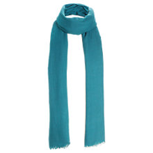 Buy Jigsaw Soft Wool Fringed Scarf, Turquoise Online at johnlewis.com