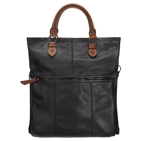 Buy Jigsaw Arundel Leather Satchel, Black Online at johnlewis.com