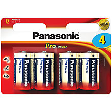 Buy Panasonic Pro Power LR20 Alkaline D Battery, Pack of 4 Online at johnlewis.com