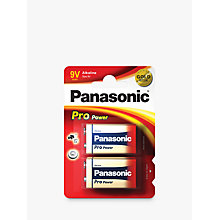 Buy Panasonic Pro Power 6LR61 Alkaline 9V Battery, Pack of 2 Online at johnlewis.com