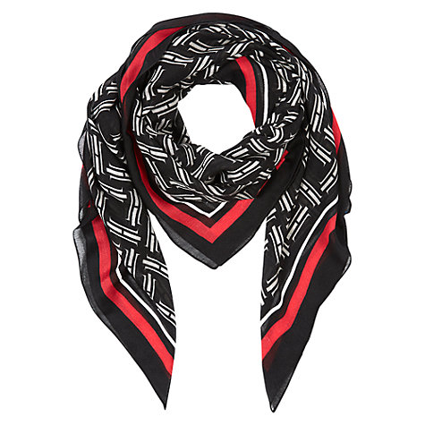 Buy Hobbs Signature Scarf, Black Online at johnlewis.com