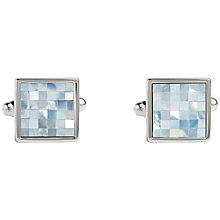 Buy Simon Carter Check Square Mother of Pearl Cufflinks, Blue/Metallic Online at johnlewis.com
