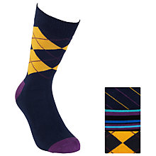 Buy Happy Socks Argyle Socks, Pack of 3, Blue/Purple Online at johnlewis.com