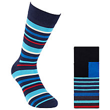 Buy Happy Socks Striped Socks, Pack of 3, Blue/Black Online at johnlewis.com