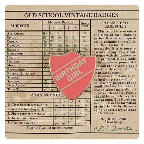 Buy Wild & Wolf Vintage School Birthday Girl Badge Online at johnlewis.com
