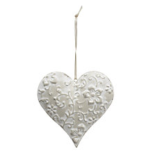 Buy Hanging Patterned Heart, White Online at johnlewis.com