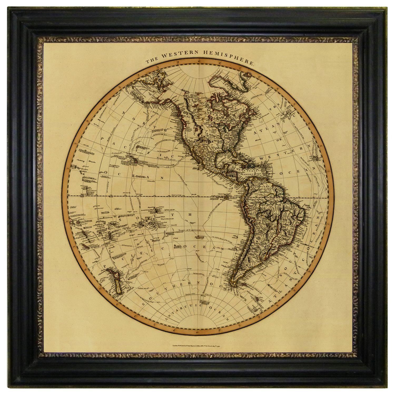 Brookpace Brookpace, Vintage Maps Collection - Western Hemisphere Framed Print, 91 x 91cm