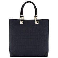 Buy Reiss Cassia Croc Print Bag, Navy Online at johnlewis.com