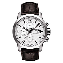Buy Tissot PRC200 Men's Automatic Chronograph Leather Strap Watch, Black Online at johnlewis.com