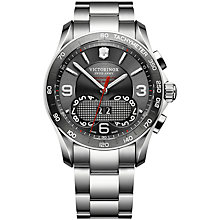 Buy Victorinox Swiss Army 1/100th Perpetual Chronograph Watch, Grey / Silver Steel Online at johnlewis.com