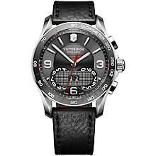 Buy Victorinox Swiss Army 1/100th Perpetual Chronograph Watch, Grey / Black Leather Online at johnlewis.com