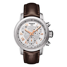 Buy Tissot T0552171603302 PRC200 Unisex Leather Strap Chronograph Watch, Brown Online at johnlewis.com