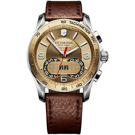 Buy Victorinox Swiss Army 1/100th Perpetual Chronograph Watch, Gold / Brown Leather Online at johnlewis.com