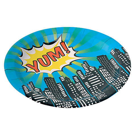 Buy Ginger Ray Pop Art Superhero Disposable Paper Plates, Pack of 8 Online at johnlewis.com