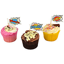Buy Ginger Ray Pop Art Superhero Cupcake Sticks, Pack of 20 Online at johnlewis.com