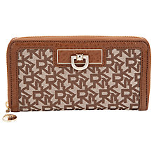 Buy DKNY Town & Country French Grain Zip Around Purse, Brown Online at johnlewis.com
