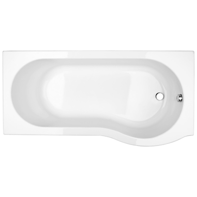 John Lewis P-Shaped Right Hand Shower Bath and Shower Screen, L170 x W85cm