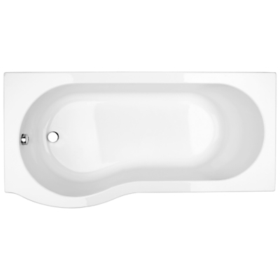 John Lewis P-Shaped Left Hand Shower Bath and Shower Screen, L150 x W85cm