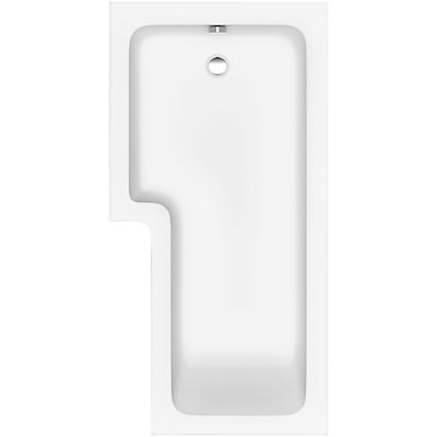 John Lewis L-Shaped Right Hand Shower Bath and Shower Screen, L170 x W85cm