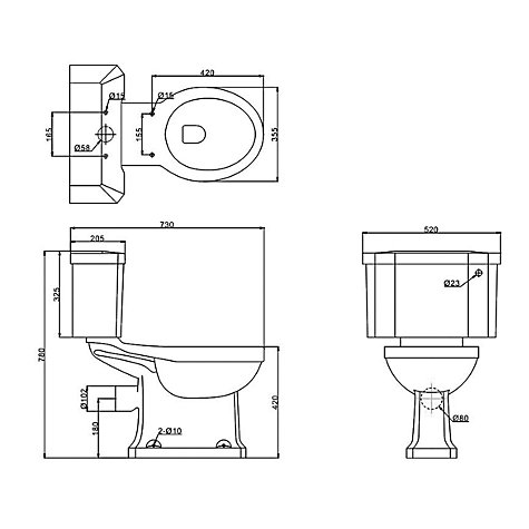Buy John Lewis Roma Close Coupled Toilet Set with Seat and Cover Online at johnlewis.com