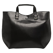 Buy Mango Faux Leather Shopper Bag, Black Online at johnlewis.com
