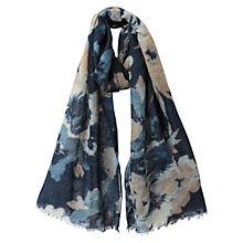 Buy East Floral Print Wool Scarf, Navy Online at johnlewis.com