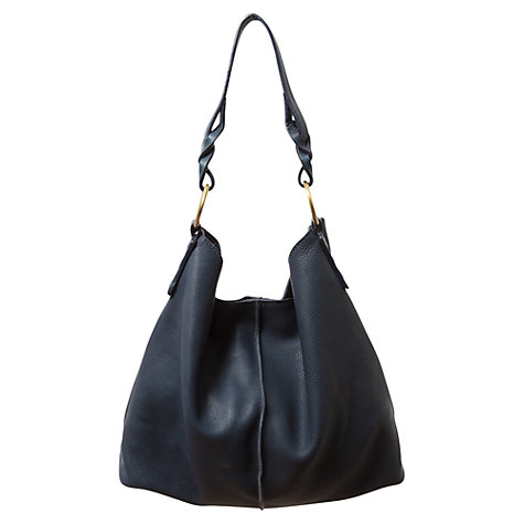 Buy East Leather Hobo Handbag, Navy Online at johnlewis.com