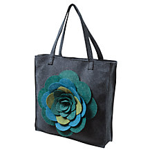 Buy East Flower Felt Bag, Navy Online at johnlewis.com