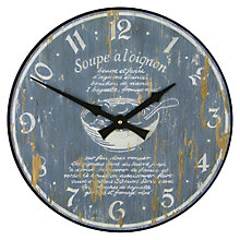 Buy Lascelles Onion Soup Wall Clock, Blue, Dia.36cm Online at johnlewis.com