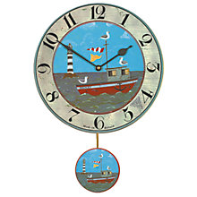 Buy Lascelles Boat Pendulum Wall Clock, Blue, Dia.28.5cm Online at johnlewis.com