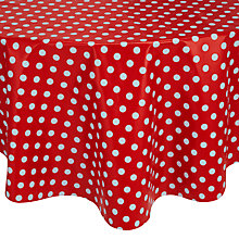 Buy John Lewis Polka Dot PVC Round Tablecloth, Dia.140cm, Red/ White Online at johnlewis.com