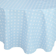 Buy John Lewis Polka Dot PVC Round Tablecloth, Dia.140cm, Duck Egg Online at johnlewis.com