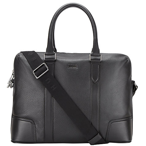 Buy BOSS Morval Leather Briefcase, Black Online at johnlewis.com