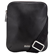 Buy Hugo Boss Bussolo Leather Flight Bag, Black Online at johnlewis.com