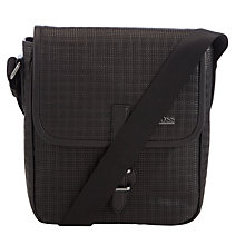 Buy BOSS Sabbea Leather Flight Bag, Black Online at johnlewis.com