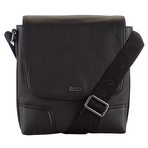 Buy BOSS Madras Reporter Flight Bag, Black Online at johnlewis.com