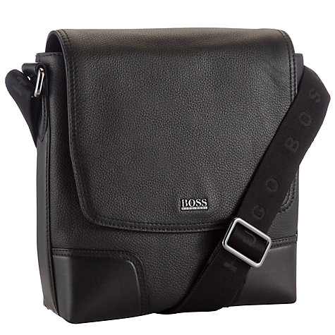 Buy BOSS Madras Messenger Bag, Black Online at johnlewis.com