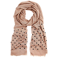 Buy Hobbs Flocked Spot Scarf, Nude Pink Online at johnlewis.com