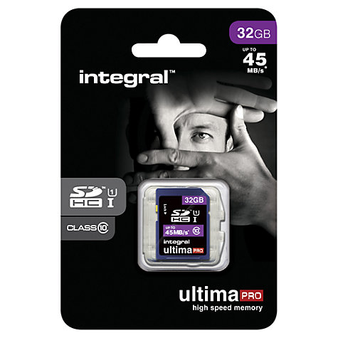 Buy Integral Ultimapro 32GB, Class 10 UHS-I SDHC Memory Card, up to 45MB/s Online at johnlewis.com