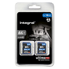 Buy Integral Ultimapro 16GB Twin Pack, Class 10 UHS-I SDHC Memory Cards, up to 45MB/s Online at johnlewis.com
