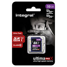 Buy Integral Ultimapro X 32GB, Class 10 UHS-I SDHC Memory Card, up to 95MB/s read, 60MB/s write Online at johnlewis.com