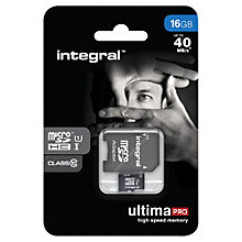 Buy Integral 16GB, Class 10 UHS-I microSDHC Memory Card, up to 40MB/s Online at johnlewis.com