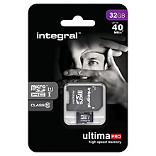 Buy Integral 32GB, Class 10 UHS-I microSDHC Memory Card, up to 40MB/s Online at johnlewis.com