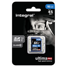 Buy Integral Ultimapro 16GB, Class 10 UHS-I SDHC Memory Card, up to 45MB/s Online at johnlewis.com